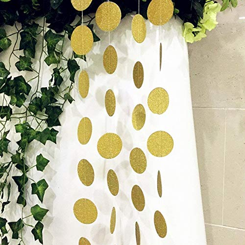 SS Cohen 4 Packs 52 Feet Gold Circle Dots Glitter Paper Garland Party Decorative Paper Circle Dots Hanging String for Birthday Wedding -