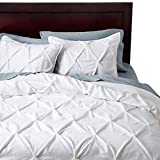 White Pinched Pleat Comforter Set (King) 3 Piece