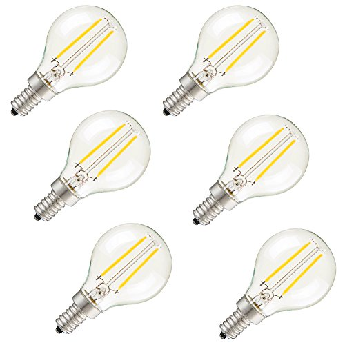 Pack Of 6 Vintage Edison Light Bulbs,G45 2W E12 LED Filament Bulb,Pure White 6000k,110vAC,Clear Glass Cover