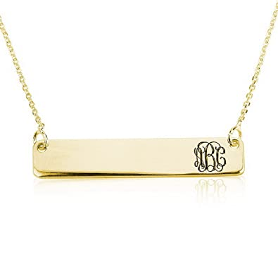 6985f860c55ab5 Amazon.com: Bar Name Necklace Personalized Name Necklace Monogram Necklace  18k Gold Plated (14 Inches): Pendant Necklaces: Jewelry