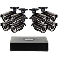 Swann Security Camera System, 8 Channel High Resolution DVR with 8 x 960H Weatherproof Aluminum Surveillance Cameras, Motion Detection day/night, HDMI & VGA output, Smartphone Viewing (SWDVK-8ALP18)
