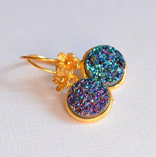 Teal Druzy Earrings in Gold (Gold Vermeil French Hook)