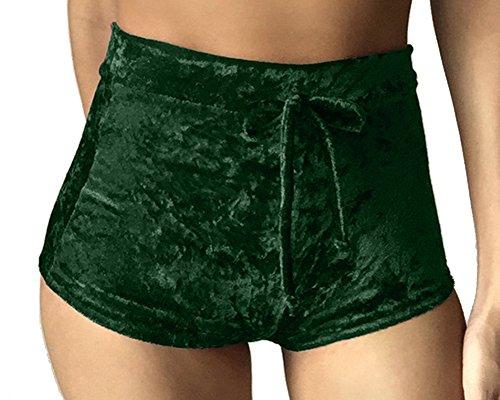 Hot Verde Cintura Usura Corti Pants Elastico Yoga Donne Comodi Pantaloncini Velluto Esterna Oro RBwvZqnx