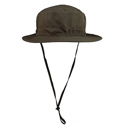 3925ec0e92f37 Voberry Fishing Outdoor Cap Canvas Woodland Military Large Brim Boonie Hat  with String (ArmyGreen)