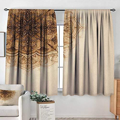 Theresa Dewey Blackout Curtains for Bedroom Henna,Vintage Hand Drawn Style Mandala Artwork Corner Ornament Ottoman Culture Art Elements, Tan Brown,for Bedroom&Kitchen&Living Room 42