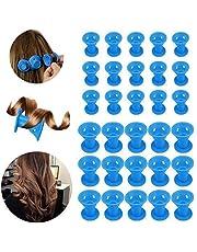 30 Unids de Pelo Silicona Rodillos Cabello,Beautyshow Magic Cuidado del Cabello Silicona de Pelo Rulos NinguÌ n Pelo de Los Del Calor Hair Rollers Curlers para Mujeres Chica Azul