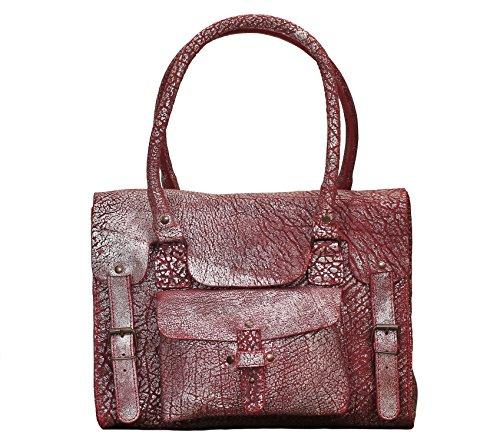 Style M MARIUS PAUL GAUCHE aus Ziegelrot Vintage Damenhandtasche Silbernen LE Leder RIVE Henkeltaschen FUwAxZ