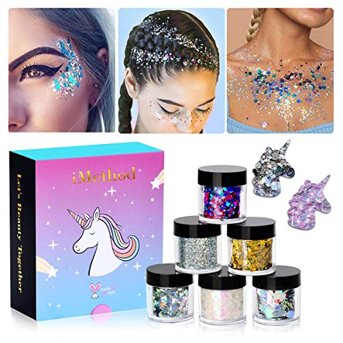 - Holographic Chunky Glitter Makeup Set - 6 Jars iMethod Cosmetic Glitters Flakes for Festival Face Makeup, Body, Hair, Nail and other Occasions