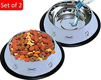 Set of 2 Etched Food Grade Stainless Steel Dog Bowls - 32oz Dry Weight - Dishwasher Safe - Bacteria & Rust Resistant - Non-Skid No-Tip Natural Rubber Base - Odor Free Alternative to Plastic by Mr. Peanut's Pet ProductsTM