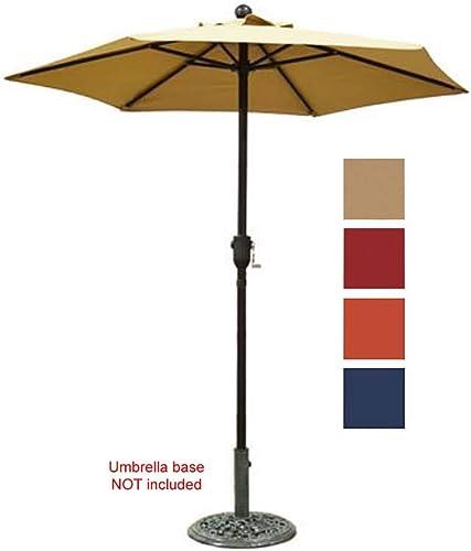 Patio Umbrella Outdoor Table Umbrella with 6 Sturdy Ribs and Crank 6 ft, Taupe Umbrella