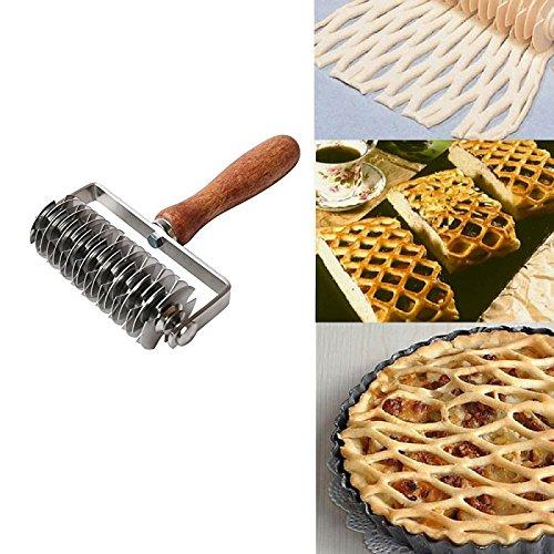 K-Steel Dough Lattice Top Cookie Pie Pizza Bread Pastry Crust Roller Cutter,Wood handle,Stainless Steel by K-Steel (Image #4)'