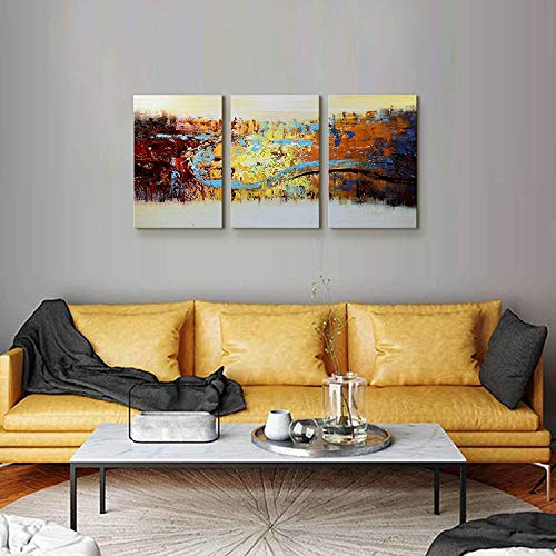 Modern Canvas Paintings Abstract Knife Painting Texture Wall Art Golden Foil Picture Framed for Living Room 3 Piece Set ()