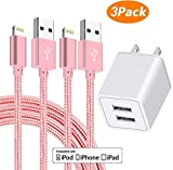 AVIOS Charger, 2.4A Dual Port USB Wall Charger Fast Charging Portable Travel Wall Adapter w/ [2-PACK] 10 Feet/3M Braided Cable Compatible with iPhone X/8/7/6S/6/Plus/5SE/5S, iPad, iPod & More - PINK