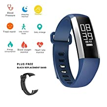 0.96 inch OLED display Smart Bracelet Pedometer Activity Tracker -Blood Pressure- Blood Oxygen Monitor -Real Time Heart Rate-Sleep Monitor--Water Proof - Bluetooth 4.0-Smart Watch for IOS and Android (Purple)