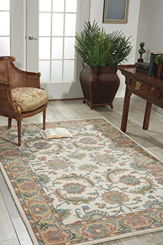 Nourison India House (IH05) Ivory/Gold Rectangle Area Rug, 8-Feet by 10-Feet 6-Inches (8' x (Asian Wool Rug)