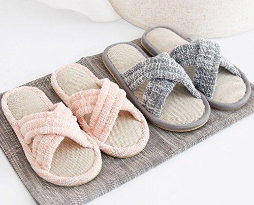 Cattior Femmes Bow Mignonnes Pantoufles Intérieur Ouvert Toe House Chaussures Gris