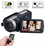 """Digital Video Camera Camcorders With IR Night Vision 24.0 Mega pixels, WEILIANTE Portable Mini Handheld Camcorder HD 1080P Max. DV 3"""" LCD Screen 16X Zoom (Two Batteries Included)"""