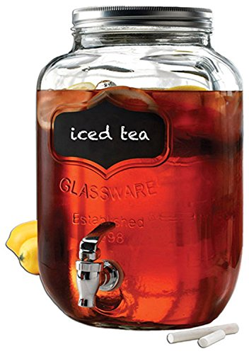 (Circleware 92003 Chalkboard Sun Tea Mason Jar Beverage Dispenser, Fun Party New Entertainment Home Kitchen Glassware Pitcher for Water, Juice, Beer, Punch & Iced Cold Drinks, Yorkshire, 2 Gallon)