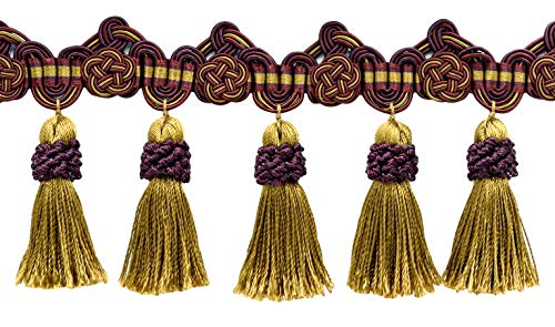3.75 Inch Black Cherry Red, Camel Beige, Purple Tassel Fringe Trim with Rosettes|Style# TFAX0375 (21765)|Color: Cerise - LX09|Sold by The Yard - Black Tassel Fabric