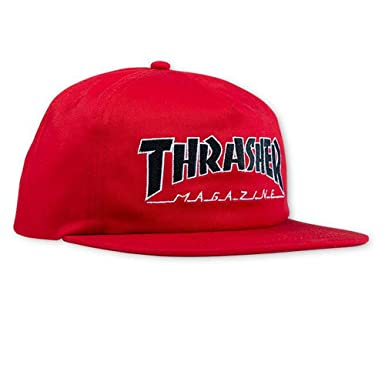 7801b9f0c Thrasher Magazine Outlined Logo Unstructured Snapback Hat - Red ...