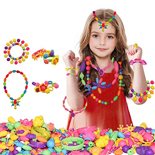 dmazing Birthday Gifts for 3-8 Year Old Girls, Jewelry Making Kit for Girls Christmas Xmas Gifts for Girls Age 3-10 Popular Toys for 3-10 Year Old Girls Stocking Stuffers for Kids 500 pcs DDUSPB02