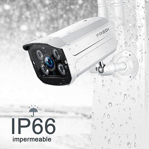 FREDI 720P-IP66 Resistente al agua Cámara de vigilancia inalámbrica/ Cámara de seguridad inalámbrica / Compatible con tarjeta SD 128G (No...