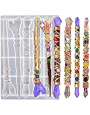 Magic Wand Resin Molds,Gemstone Scepter Silicone Molds for Epoxy Resin with 6 Different Shape Wizard Wand for Cosplay Handcraft Toy DIY Crafts Casting Home Decoration