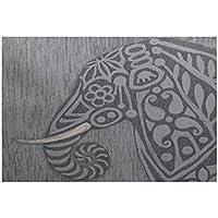 E By Design RAN377GY2GY1-35 Inky Animal Print Rug, 3 x 5, Gray