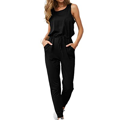 Adogirl Womens Summer Casual Jumpsuits Elastic Waist Sleeveless Loose Jumper Rompers with Pockets: Clothing