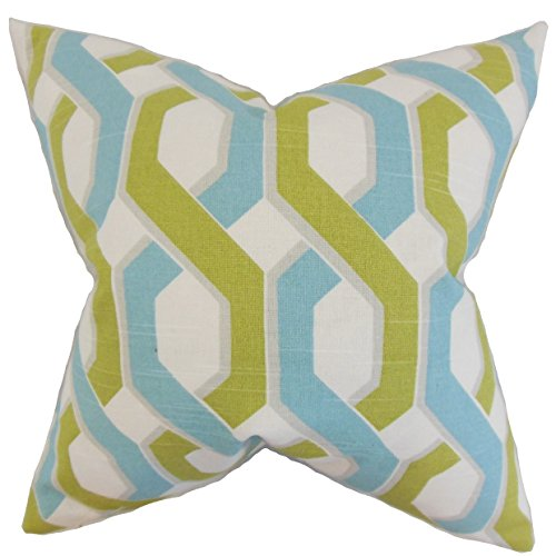 The Pillow Collection Chauncey Geometric Floor Pillow Aqua Green