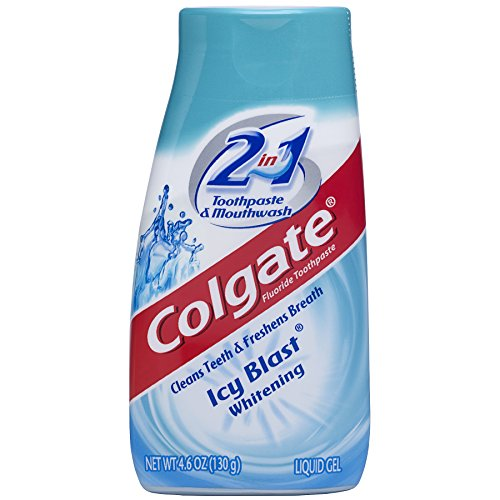 Colgate 2-in-1 Whitening Toothpaste Gel and Mouthwash, Icy Blast - 4.6 ounce