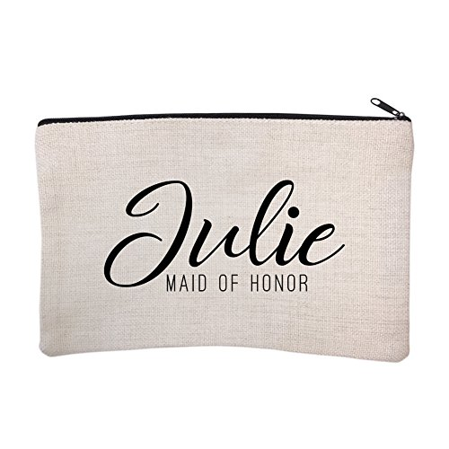 Personalized Script Bridal Party Maid of Honor Costmetic Bag by Pattern Pop