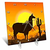3dRose Sven Herkenrath Animal - Lama Alpaca in Mexican Nature with Sunset in the Background - 6x6 Desk Clock (dc_280322_1)