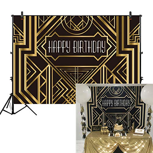 Allenjoy 8x6ft Photography backdrops Great Gatsby Birthday Adults Children Party Black and Gold Golden Banner Photo Studio Booth Background Newborn Baby Shower photocall]()
