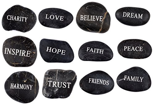 (Engraved Inspirational Black Stones (12 Different Words- Large 2-3 Inches) from The Holy Land)