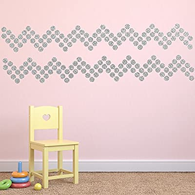 """(210) 2"""" Silver Polka Dot Decals - Removable Peel and Stick Circle Wall Decals for Nursery, Kids Room, Mirrors, and Doors"""