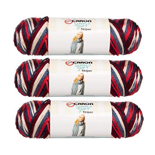 - Caron (3 Pack Simply Soft Stripes 100% Acrylic Soft Golden Gate Bridge Reddish Orange Blue White Maroon Yarn for Knitting Crocheting Medium #4