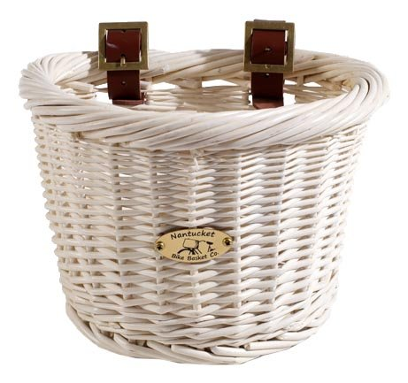 (Nantucket Bicycle Basket Co. Cruiser Adult D-shape Basket, White)