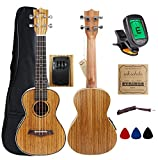 Kulana Electric Acoustic Concert Ukulele, Zebrawood with Binding and Aquila Strings + Gig Bag