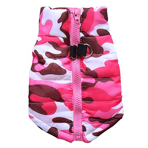 BBEART Pet Coat,Dog Winter Clothes Warm Padded Pink Camouflage Jacket Soft Sleeveless Vest Winproof Cotton Harness Clothing Small Dog Clothes (Pomeranian Jacket)