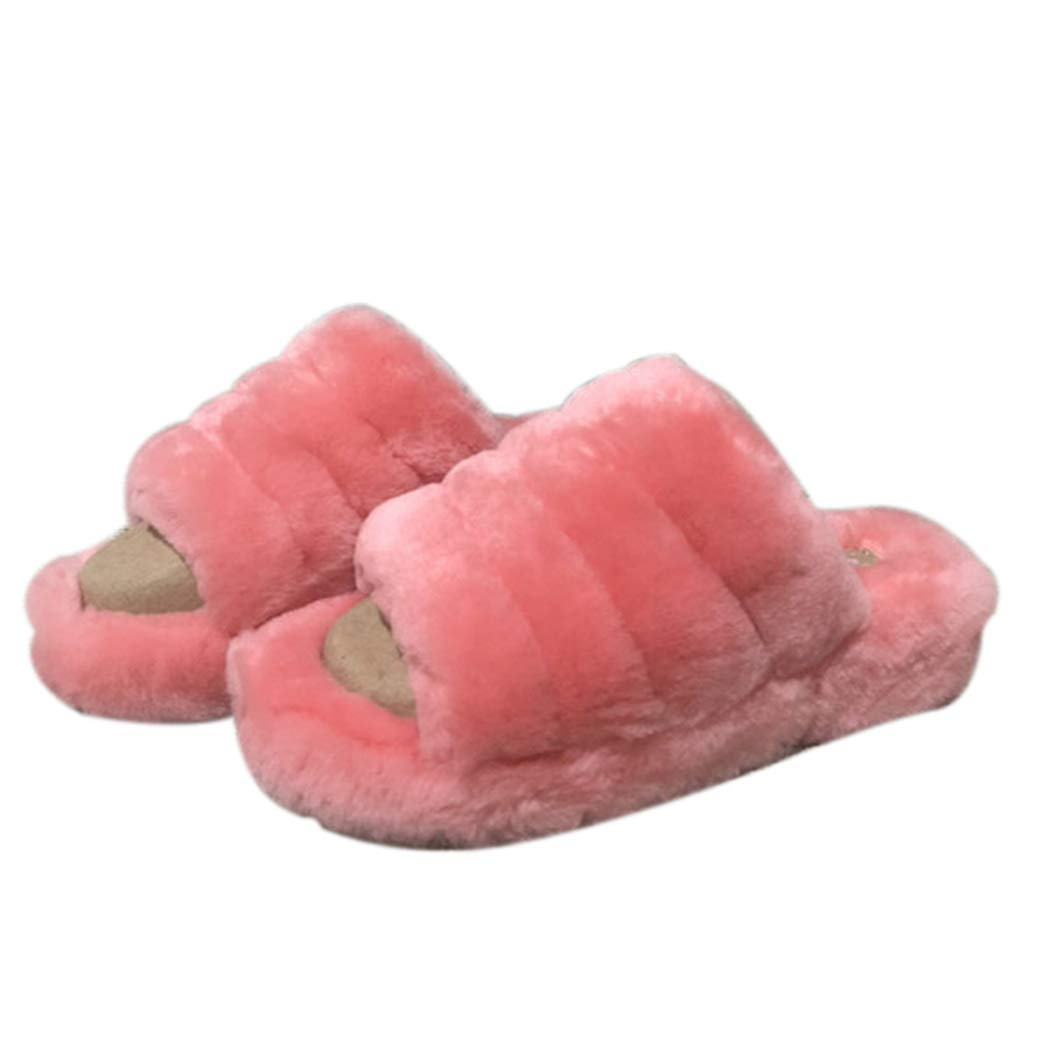 Pink Nafanio Women Home Slippers with Platform Winter Sheepskin Warm Home Unisex High Heel House Fluffy shoes