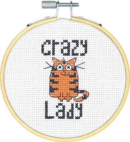 Dimensions Mini Counted Cross Stitch Kit for Beginners, 'Crazy Cat Lady', 14 Count White Aida Cloth, 4''