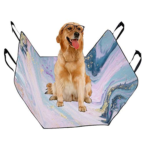 XINGCHENSS Fashion Oxford Pet Car Seat Marble Texture Color Crystal Gold Design Gorgeous and Noble Waterproof Nonslip Canine Pet Dog Bed Hammock Convertible for Cars Trucks SUV ()