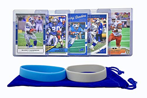 Barry Sanders Football Cards (5) Assorted Bundle - Detroit Lions Trading Card Gift Set