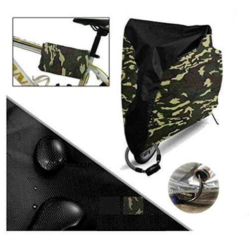 Bike Cover,Outdoor Waterproof for Road Mountain Bicycle Cover, Electric Bike Cover With Lock-holes Design Belt (Camouflage190T, XL)