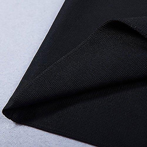 Ausschnitt Verband Fastener HLBandage Kunstseide ärmel Kleid Schwarz Adorn dwqqH1
