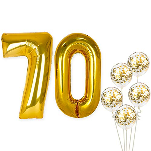 Number 70 and Gold Confetti Balloons – Large, Pack of 7 | Gold Confetti Latex Balloons Party Decorations Backdrop | Great for Party Supplies Kit for 70th Birthday, Anniversary, Home Office Décor ()