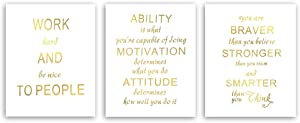Inspirational Lettering Quotes Gold Foil Print, Motivational Saying Cardstock Art Print Poster Inspiring Lettering For Kids Room Classroom Wall Art Decor (8 X 10 inch, set of 3, UNframed)