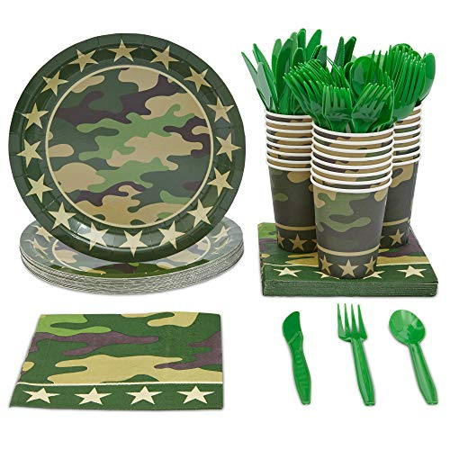 Blue Panda Camo Party Supplies - Camouflage Dinnerware Set - Including Disposable Plates, Cups, Napkins, Forks, Spoons, Knives for Army Military Hunting Themed Kids Birthday (Set of 144, Serves 24)