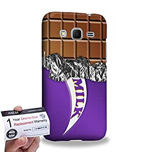 Case88 [Samsung Galaxy Core Prime G360] 3D impresa Carcasa/Funda dura para & Tarjeta de garantía - Art Fashion Purple Milk Chocolate Bar